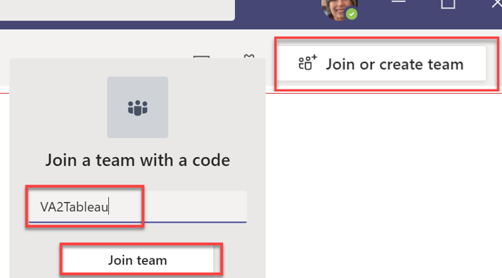 Red boxes for create team button followed by VA2Tableau code and Join Team button