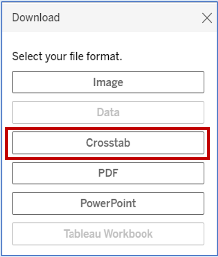 red box around Crosstab file format option
