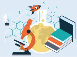 microscope rocket beaker books