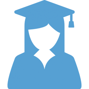 This is a Carolina Blue icon of a female student in a graduation gown and cap
