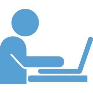 This is a Carolina Blue icon of a person using a laptop computer.