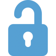 A carolina blue lock icon with the lock opening.
