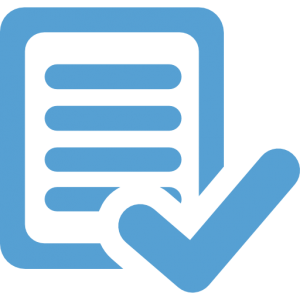 This a carolina blue icon of a typed page with a checkmark in front of it to indicate approval.
