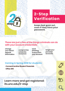 This is a screen capture of the 2-step verification poster encouraging everyone to visit its.unc.edu/2-step.