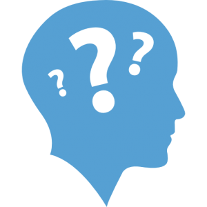 This is Carolina blue icon of a human head with question marks floating inside of it.