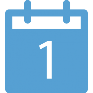 This is a calendar blue icon of a single day icon with the number 1 in the middle.