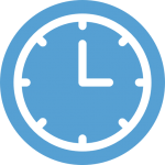 This is a Carolina Blue icon of a wall clock with the minute and hour hands indicating that it is 3 o'clock.