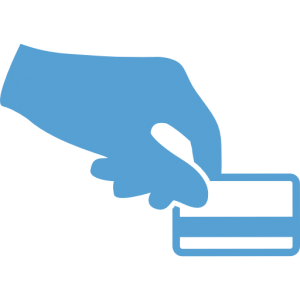 This is a Carolina Blue icon of a hand holding out a credit card for payment.