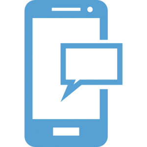 This is a Carolina Blue Icon of a smartphone receiving a text message.