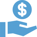 This is a Carolina Blue icon of a hand with a dollar sign floating above it.