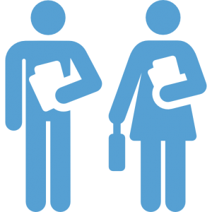 This is a Carolina Blue icon of two teachers carrying papers.