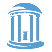 This is a Carolina Blue icon of the Old Well, which is water fountion under a dome that is supported by four columns.
