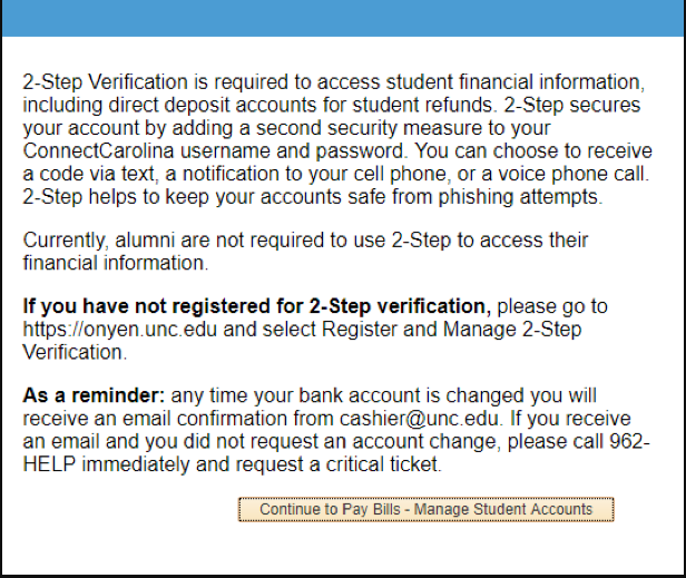 Screenshot of Continue to Pay Bills - Manage Student Accounts button.