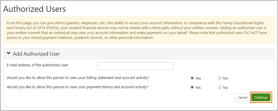 Agreement to Add Authorized User screen - Authorized Users questions