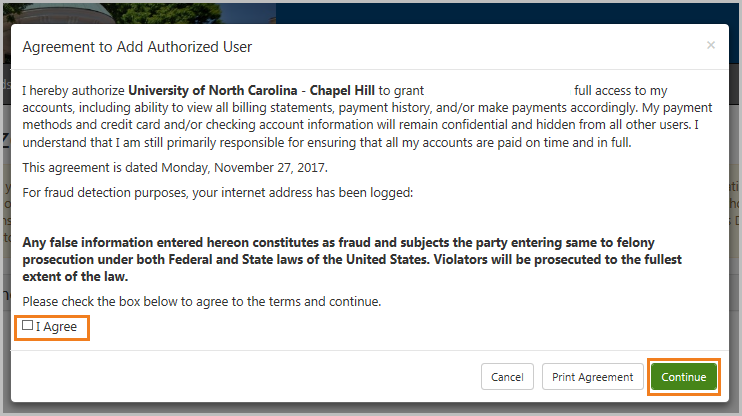 Agreement to Add Authorized User screen-I Agreebox