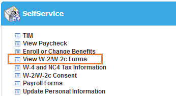 A screenshot of the SelfService menu in ConnectCarolina with an orange box around the text View W-2/W-2c Forms