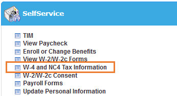 A screenshot of the ConnectCarolina SelfService menu with an orange box highlighting the text W-4 and NC4 Tax Information