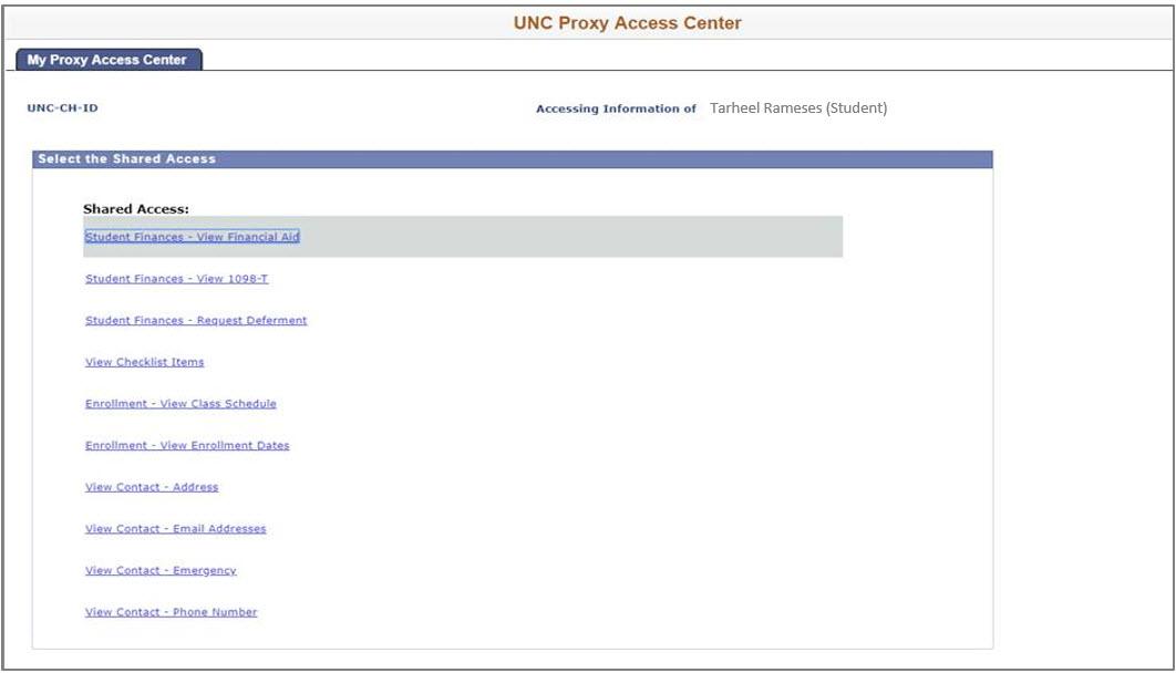 UNC Proxy Access Center screen