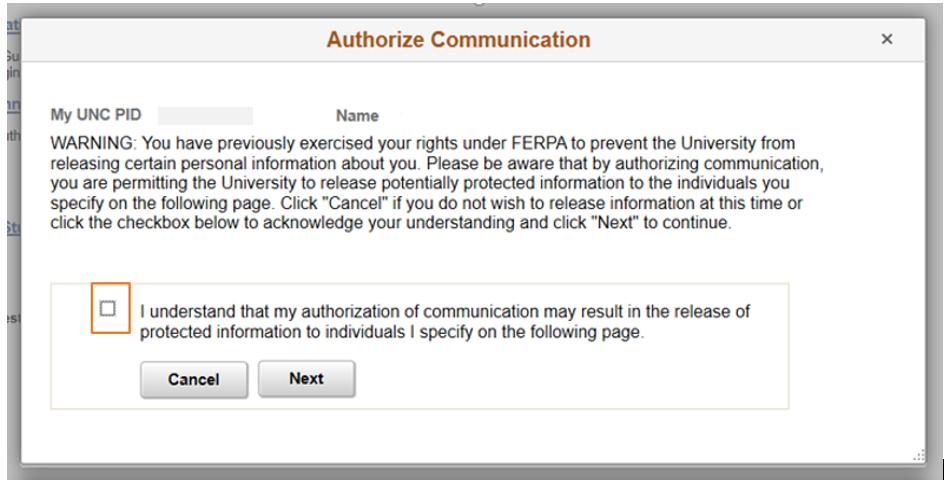 screenshot of Authorize Communication box