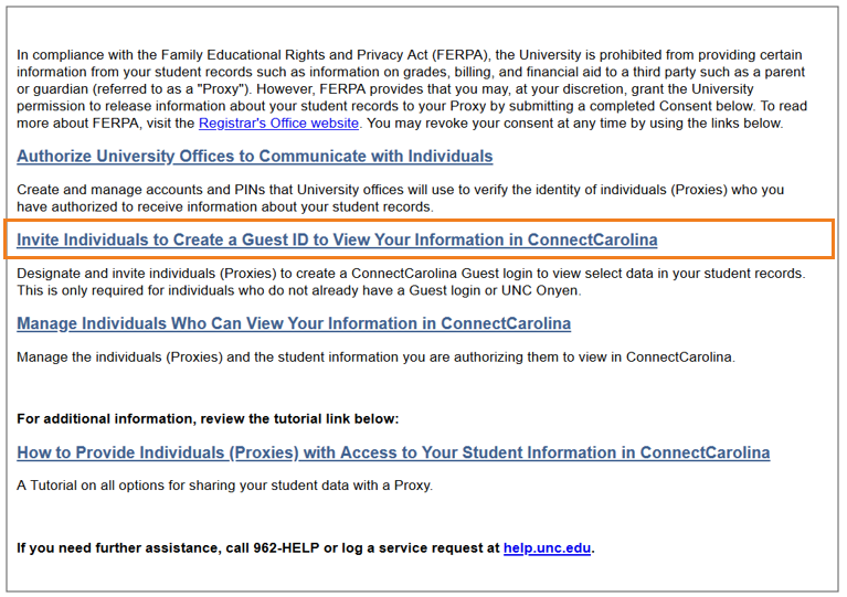 Invite Individuals to Create a Guest ID to View Your Information in ConnectCarolina link.