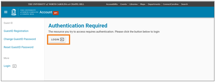 Log in to the Authentication Required page