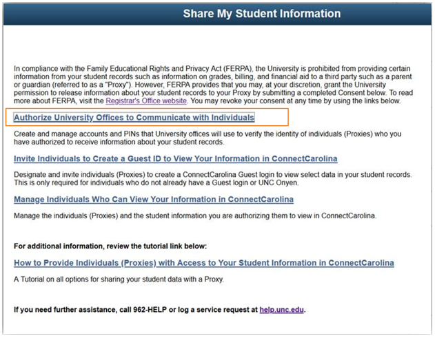 Share My Student Information page