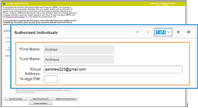 Authorize Communication page