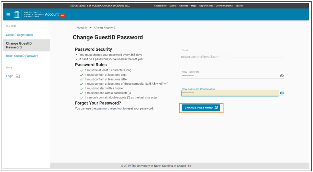 Create and confirm a new password screen