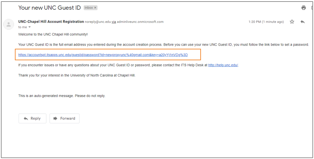 Proxy GuestID Registration email with link to create Password