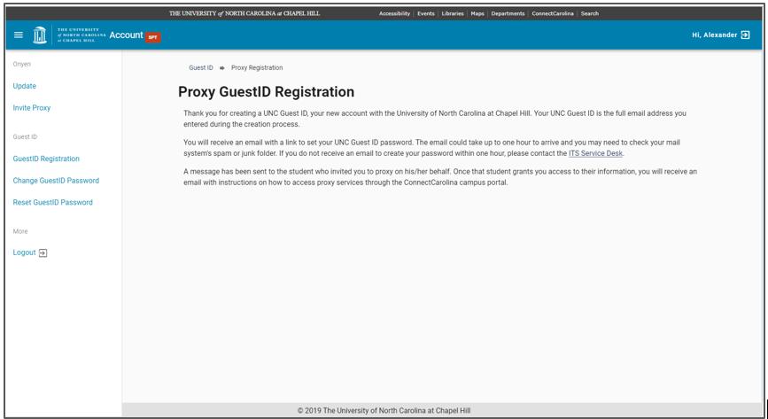 GuestID Registration confirmation screen