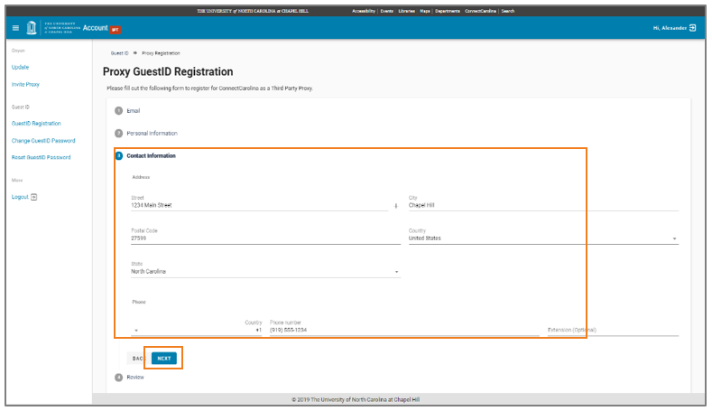 Second Complete Personal Information screen for Proxy