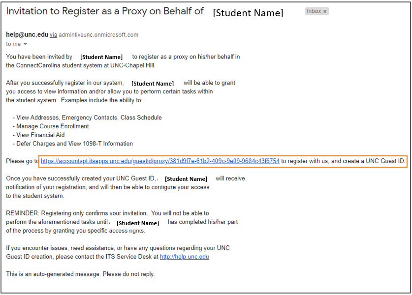 email with the subject line:Invitation to Register as a Proxy on Behalf of [Student Name]