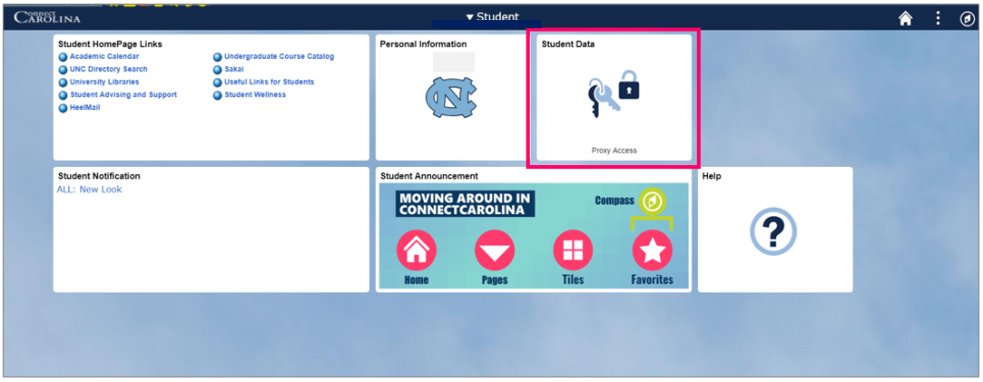 ConnectCarolina Student home page with box around the Student Data tile.