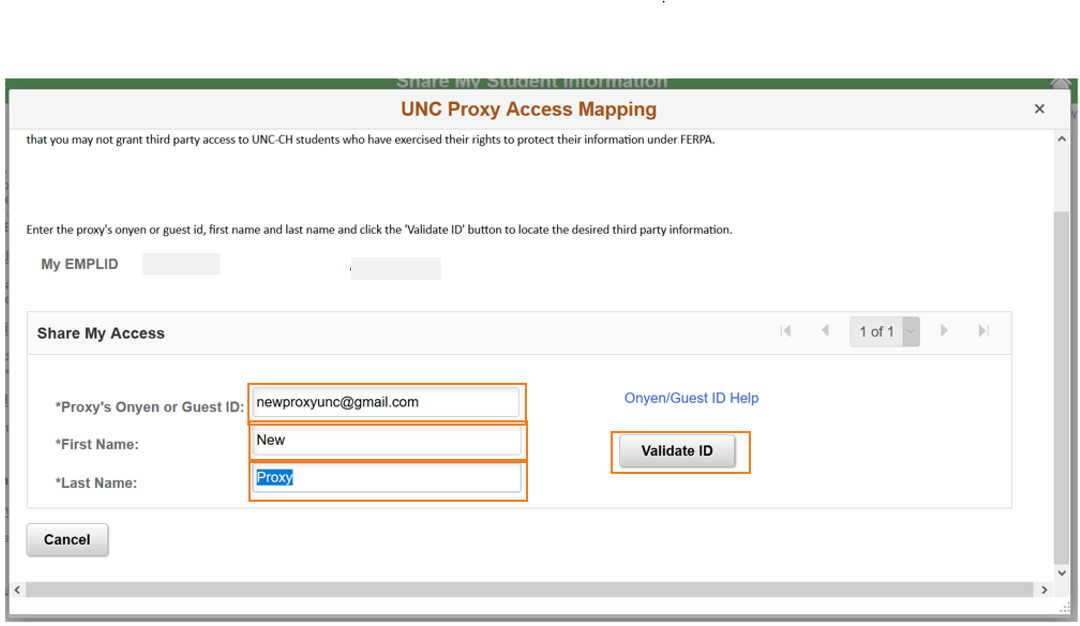 Share My Student Information screen for student to validate Proxy email