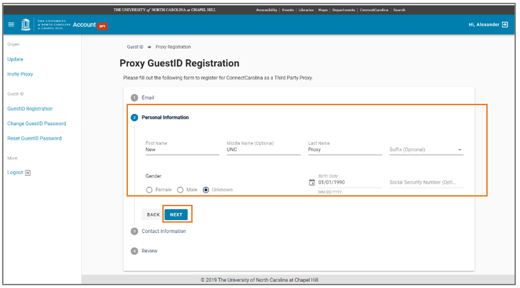 Complete Personal Information screen for Proxy