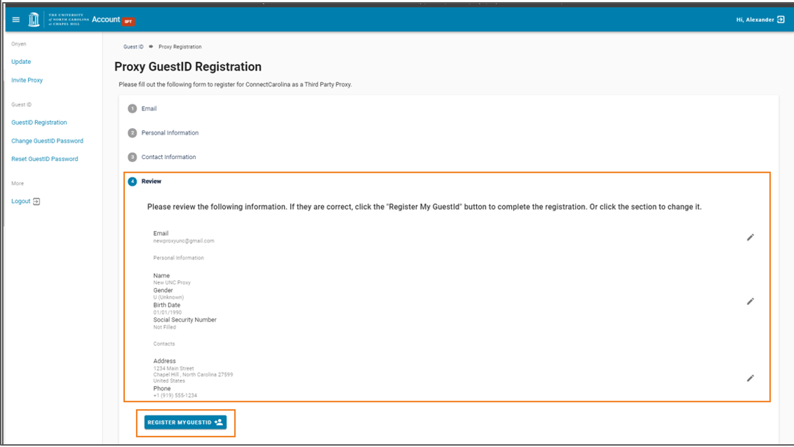 Screen to review the information fields and then click the Register My GuestID button