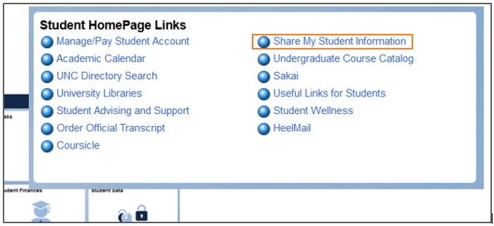 Student Home Page Links with box around Share My Student Information option.