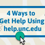 """Graphic with """"4 Ways to Get Help Using help.unc.edu"""" and a green button to click."""