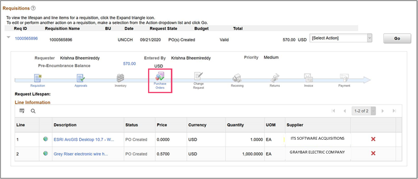 screenshot of requisition with purchase order icon highlighted