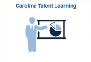 Carolina Talent Learning tile. Man pointing to screen with a pie chart