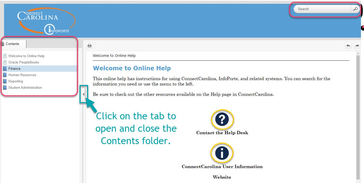 Online Help screen